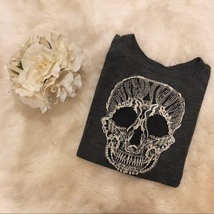 Embroidered Lace Skull Sweater.